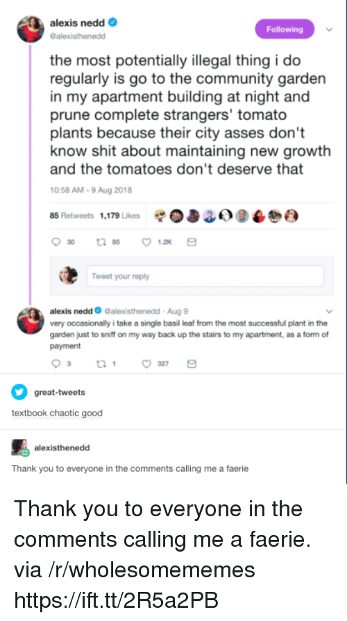 Chaotic Good: alexis nedd  alexisthenedd  Following  the most potentially illegal thing i do  regularly is go to the community garden  in my apartment building at night and  prune complete strangers' tomato  plants because their city asses don't  and the tomatoes don't deserve that  0:58 AM-9 Aug 2018  85 Retweets 1,179 Likes 0338) 9  know shit about maintaining new growtlh  Tweet your reply  alexis nedd Galexisthenedd-Aug 9  very occasionally i take a single basil leaf from the most successful plant in the  garden just to sniff on my way back up the stairs to my apartment, as a form of  payment  great-tweets  textbook chaotic good  alexisthenedd  Thank you to everyone in the comments calling me a faerie Thank you to everyone in the comments calling me a faerie. via /r/wholesomememes https://ift.tt/2R5a2PB