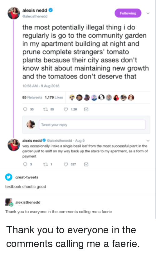 Chaotic Good: alexis nedd  alexisthenedd  Following  the most potentially illegal thing i do  regularly is go to the community garden  in my apartment building at night and  prune complete strangers' tomato  plants because their city asses don't  and the tomatoes don't deserve that  0:58 AM-9 Aug 2018  85 Retweets 1,179 Likes 0338) 9  know shit about maintaining new growtlh  Tweet your reply  alexis nedd Galexisthenedd-Aug 9  very occasionally i take a single basil leaf from the most successful plant in the  garden just to sniff on my way back up the stairs to my apartment, as a form of  payment  great-tweets  textbook chaotic good  alexisthenedd  Thank you to everyone in the comments calling me a faerie Thank you to everyone in the comments calling me a faerie.