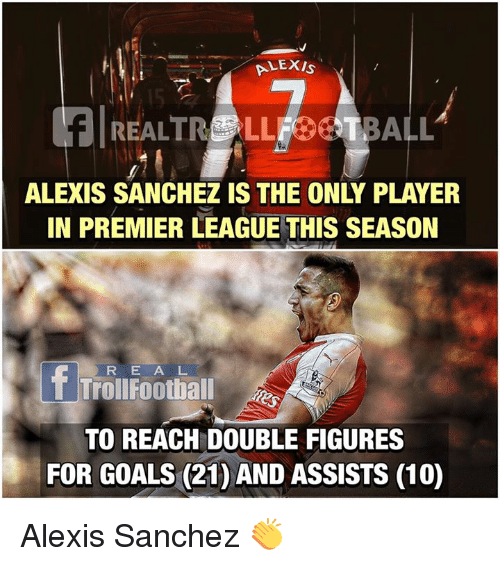 player: ALEXIS  REALTR LLFOSTBALL  ALEXIS SANCHEZ IS THE ONLY PLAYER  IN PREMIER LEAGUE THIS SEASON  R E A L  Troll Foothall  TO REACH DOUBLE FIGURES  FOR GOALS (21) AND ASSISTS (10) Alexis Sanchez 👏