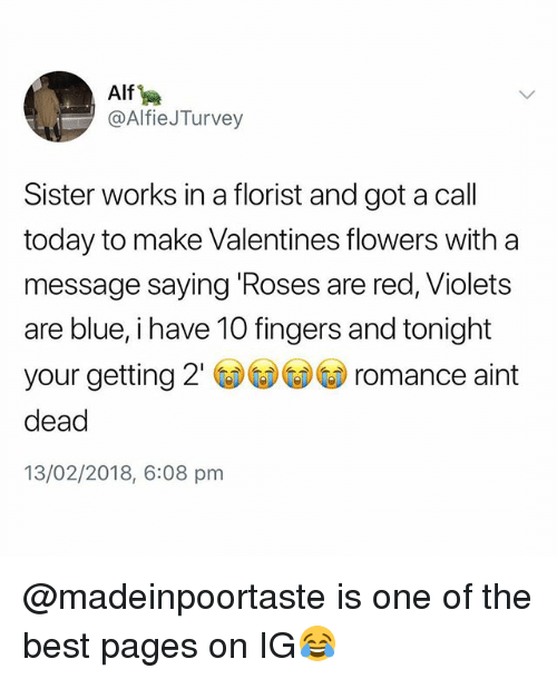 Best, Blue, and Flowers: Alf  @AlfieJTurvey  Sister works in a florist and got a call  today to make Valentines flowers with a  message saying Roses are red, Violets  are blue, i have 10 fingers and tonight  your getting 2' ③③GD romance aint  dead  13/02/2018, 6:08 pm @madeinpoortaste is one of the best pages on IG😂