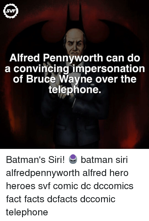 Memes, Siri, and 🤖: Alfred Pennyworth can do  a convincing impersonation  of Bruce Wayne over the  telephone. Batman's Siri! 🖲 batman siri alfredpennyworth alfred hero heroes svf comic dc dccomics fact facts dcfacts dccomic telephone