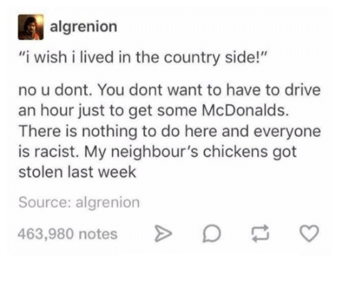 "McDonalds, Drive, and Racist: algrenion  ""i wish i lived in the country side!""  no u dont. You dont want to have to drive  an hour just to get some McDonalds.  There is nothing to do here and everyone  is racist. My neighbour's chickens got  stolen last week  Source: algrenion  463,980 notes"