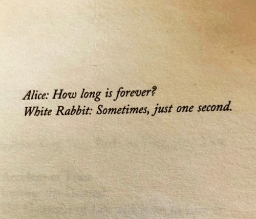 one second: Alice: How long is forever?  White Rabbit: Sometimes, just one second.