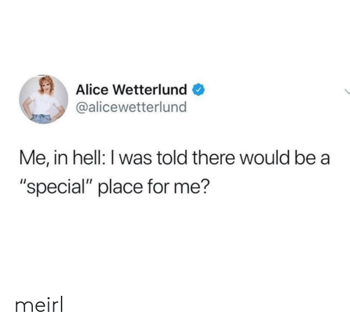 """I Was Told: Alice Wetterlund  @alicewetterlund  Me, in hell: I was told there would be  """"special"""" place for me? meirl"""