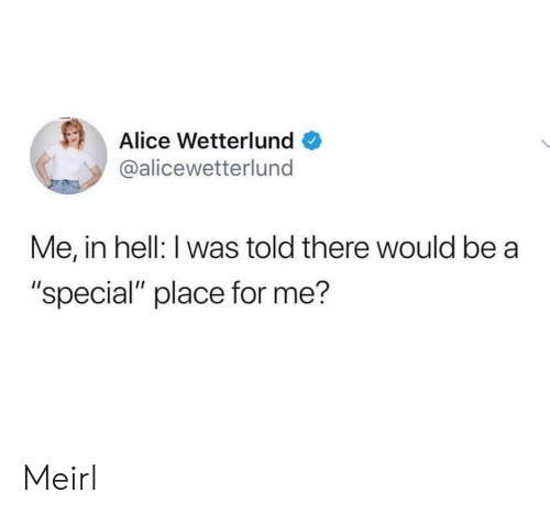 """I Was Told: Alice Wetterlund  @alicewetterlund  Me, in hell: I was told there would be a  """"special"""" place for me? Meirl"""