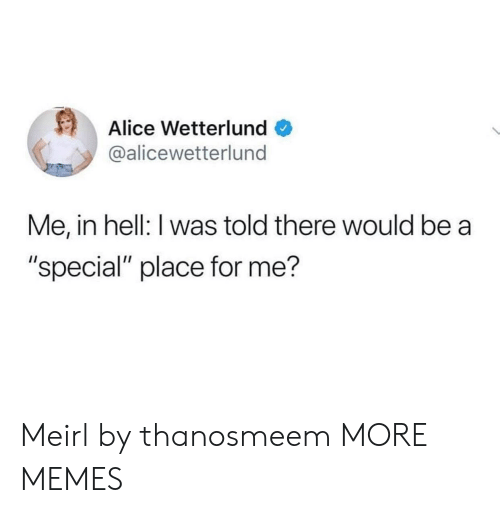 """I Was Told: Alice Wetterlund  @alicewetterlund  Me, in hell: I was told there would be a  """"special"""" place for me? Meirl by thanosmeem MORE MEMES"""