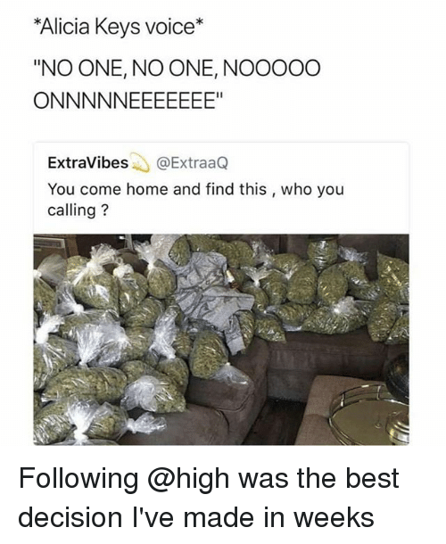 """Who You Calling: Alicia Keys voice*  """"NO ONE, NO ONE, NOOOOO  ExtraVibes@ExtraaQ  You come home and find this , who you  calling? Following @high was the best decision I've made in weeks"""