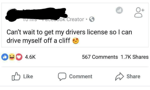 like comment share: all  1  UTTS aook Creator  Can't wait to get my drivers license so l can  drive myself off a cliff  4.6K  567 Comments 1.7K Shares  Like  comment  Share