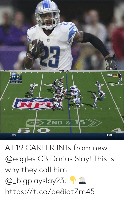 Philadelphia Eagles: All 19 CAREER INTs from new @eagles CB Darius Slay!   This is why they call him @_bigplayslay23. 👇🦅 https://t.co/pe8iatZm45