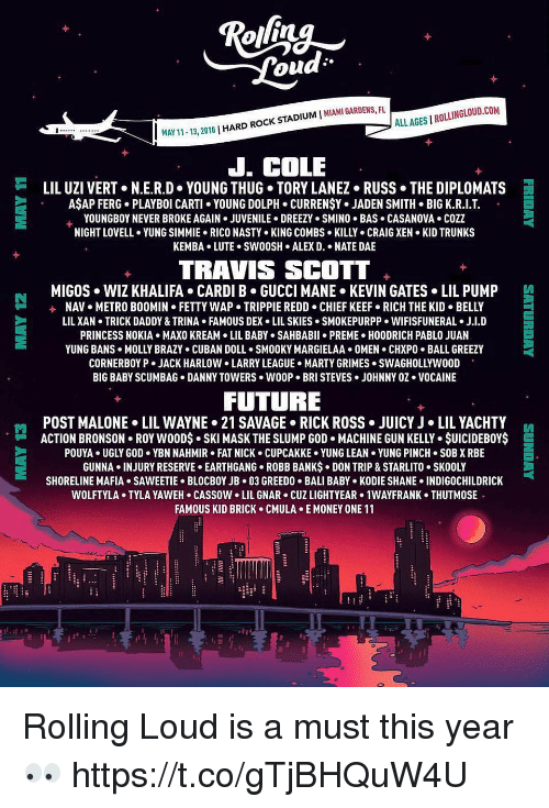 Metro Boomin: ALL AGES I ROLLINGLOUD.COM  1-13, 2018 | HARD ROCK STADIUM I MIAMI GARDENS, FU  J. COLE  岿  LIL UZI VERT+ N.ER.D-YOUNG THUG-TORY LANEZ-RUSS·THE DIPLOMATS  AŞAP FERG. PLAYBOI CARTI YOUNG DOLPH. CURRENŞY. JADEN SMITH BIG K.R.I.T  YOUNGBOY NEVER BROKE AGAIN . JUVENILE . DREEZY . SMINO . BAS . CASANOVA . COZZ  NIGHT LOVELL YUNG SIMMIE. RICO NASTY KING COMBS KILLY CRAIG XEN KID TRUNKS  KEMBA.LUTE. SW0OSH ALEX D. . NATE DAE  TRAVIS SCOTT  MIGOS WIZ KHALIFA CARDI B GUCCI MANE KEVIN GATES LIL PUMP  +  NAV  METRO BOOMIN  FETTY WAP-TRIPPIE REDD-CHIEF KEEF-RICH THE KID . BELLY  LIL XAN TRICK DADDY & TRINA FAMOUS DEX LIL SKIES SMOKEPURPP. WIFISFUNERAL J.I.D  PRINCESS NOKIA MAXO KREAM LIL ABY SAHBABII PREME HOODRICH PABLO JUAN  YUNG BANS . MOLLY BRAZY . CUBAN DOLL . SMOOKY MARGIELAA+ OMEN . CHXPO-BALL GREEZY  CORNERBOY P . JACK HARLOW LARRY LEAGUE-HARTY GRIMES . SWAGHOLLYWOOD  BIG BABY SCUMBAG DANNY TOWERS WOOP. BRI STEVES JOHNNY OZ VOCAINE  FUTURE  POST MALONE . LIL WAYNE> 21 SAVAGE-RICK ROSS . JUICY J·LIL YACHTY  ACTION BRONSON . ROY w0ODs-SKI MASK THE SLUMP GOD . MACHINE GUN KELLY . $UICIDEBOY$  POUYA UGLY GOD YBN NAHMIR FAT NICK CUPCAKKE YUNG LEAN YUNG PINCH SOB X RBE  GUNNA . INJURY RESERVE . EARTHGANG-ROBB BANKs-DON TRIP & STARLITO-SKOOLY  SHORELINE MAFIA+ SAWEETIE-BLOCBOYJB-03 GREEDO . BALI BABY-KODIE SHANE-INDIGOCHILDRICK  WOLFTYLA+ TYLA YAWEH-CASSOW-LIL GNAR . CUZ LIGHTYEAR> 1WAYFRANK . THUTMOS  FAMOUS KID BRICK CMULA E MONEY ONE 11  門  E Rolling Loud is a must this year 👀 https://t.co/gTjBHQuW4U