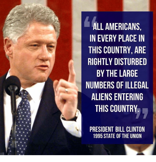 Rightly: ALL AMERICANS,  IN EVERY PLACE IN  THIS COUNTRY, ARE  RIGHTLY DISTURBED  BY THE LARGE  NUMBERS OF ILLEGAL  ALIENS ENTERING  THIS COUNTRY  PRESIDENT BILL CLINTON  1995 STATE OF THE UNION