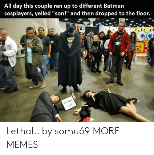 """cosplayers: All day this couple ran up to different Batmarn  cosplayers, yelled """"son!"""" and then dropped to the floor.  The  Family Lethal.. by somu69 MORE MEMES"""