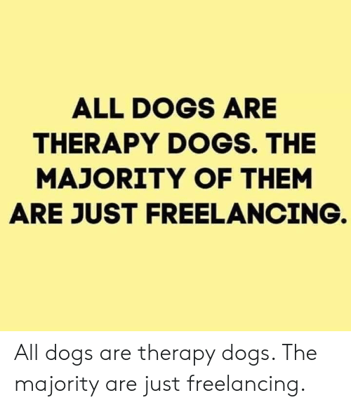 all dogs: ALL DOGS ARE  THERAPY DOGS. THE  MAJORITY OF THEM  ARE JUST FREELANCING. All dogs are therapy dogs. The majority are just freelancing.