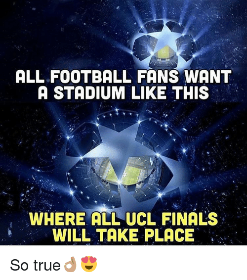 Finals, Football, and Memes: ALL FOOTBALL FANS WANT  A STADIUM LIKE THIS  WHERE ALL UCL FINALS  WILL TAKE PLACE So true👌🏽😍