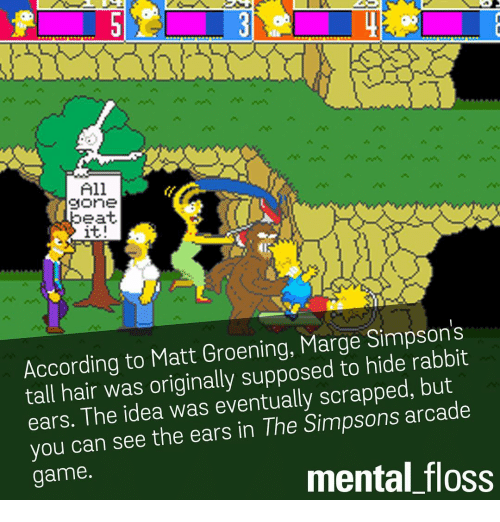Marge Simpson, Memes, and The Simpsons: All  gone  eat.  it!  According to Matt Groening, Marge Simpson s  tall hair was originally supposed to hide rabbit  ears. The idea was eventually scrapped, but  you can see the ears in The Simpsons arcade  mental floss  game.