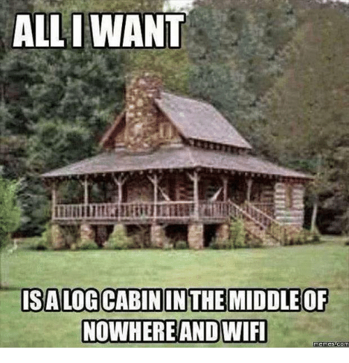 Wifi Meme: ALL I WANT  ISALOG CABININ THE MIDDLE OF  NOWHERE AND WIFI  Memes Comm