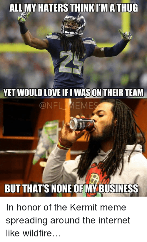 Kermit Meme: ALL MY HATERS  THINK IMATHUG  YET WOULD LOVE ON THEIR TEAM  QNFL MEME  BUT THAT'S NONE OFMY BUSINESS In honor of the Kermit meme spreading around the internet like wildfire…