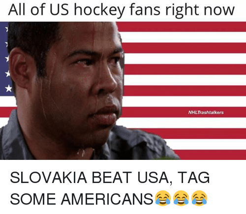 Hockey, Memes, and 🤖: All of US hockey fans right now  NHLTrashtalkers SLOVAKIA BEAT USA, TAG SOME AMERICANS😂😂😂