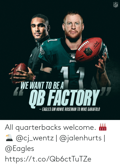welcome: All quarterbacks welcome. 🏭🦅  @cj_wentz | @jalenhurts | @Eagles https://t.co/Qb6ctTuTZe