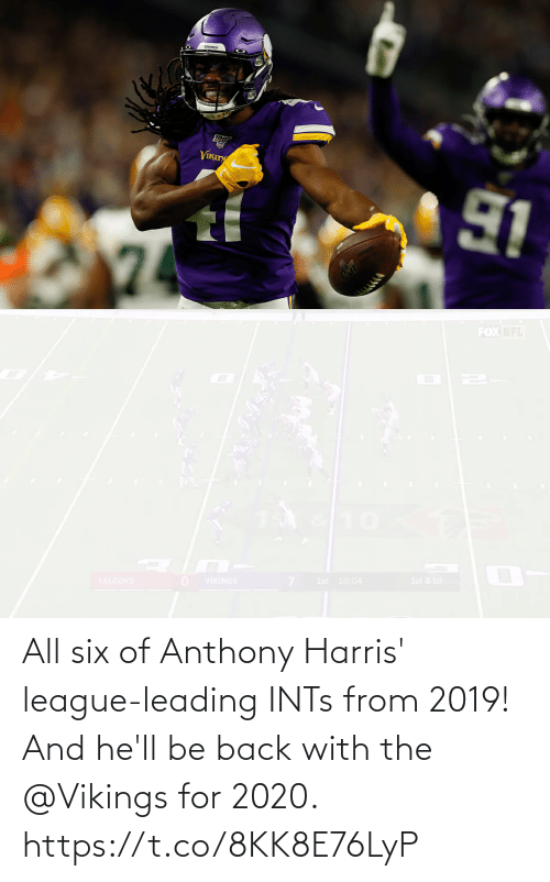 Hell: All six of Anthony Harris' league-leading INTs from 2019!  And he'll be back with the @Vikings for 2020. https://t.co/8KK8E76LyP