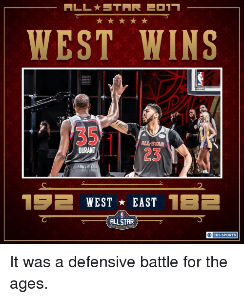 All Star, Memes, and Sports: ALL STAR 231 1  WEST WINS  SPALDING  ALL STAR  DURANT  15E WEST EAST  1EE  ALLSTAR  O CBS SPORTS It was a defensive battle for the ages.