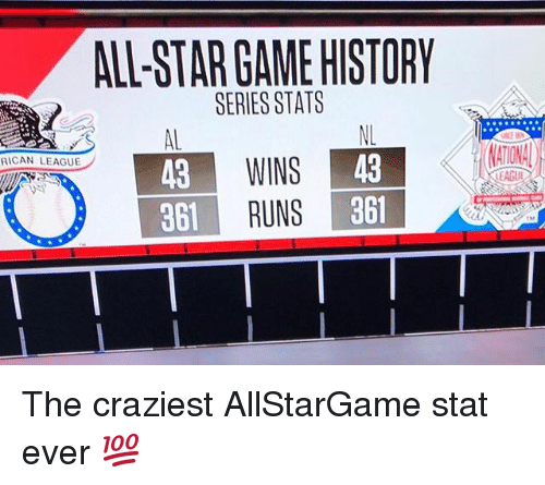 All Star, Mlb, and Game: ALL-STAR GAME HISTORY  SERIES STATS  ATIONA  WINS  RUNS  43  861  RICAN LEAGUE  43  861  EAGUE The craziest AllStarGame stat ever 💯