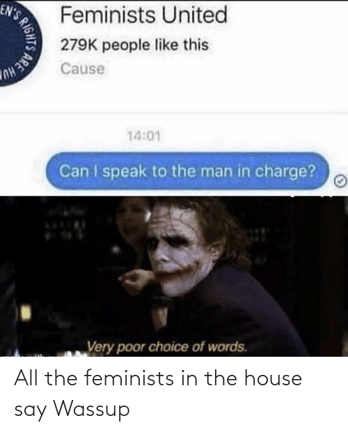 Feminists: All the feminists in the house say Wassup