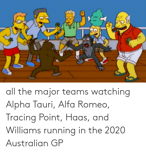 Running In The: all the major teams watching Alpha Tauri, Alfa Romeo, Tracing Point, Haas, and Williams running in the 2020 Australian GP