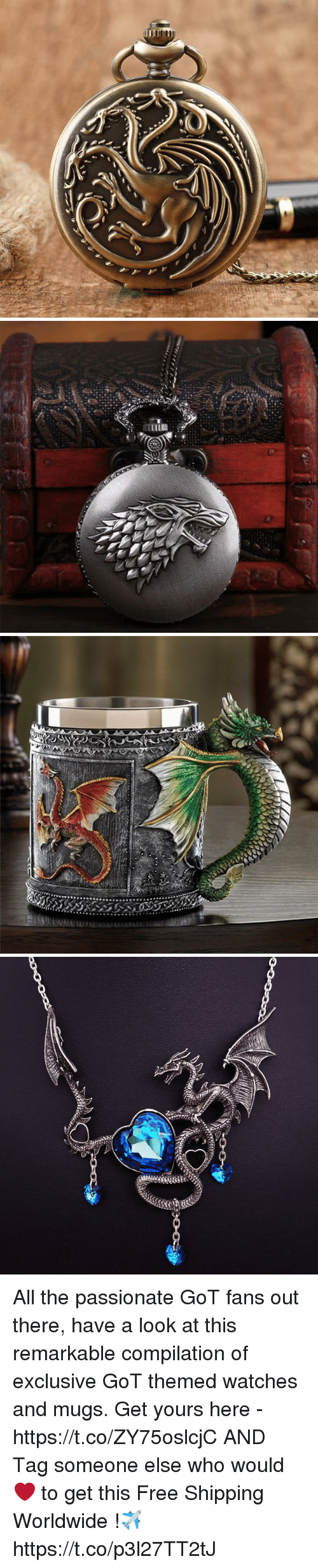 Memes, Free, and Watches: All the passionate GoT fans out there, have a look at this remarkable compilation of exclusive GoT themed watches and mugs.   Get yours here - https://t.co/ZY75oslcjC  AND Tag someone else who would ❤ to get this  Free Shipping Worldwide !✈ https://t.co/p3l27TT2tJ