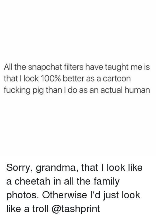 Anaconda, Family, and Fucking: All the snapchat filters have taught me is  that I look 100% better as a cartoon  fucking pig than l do as an actual human Sorry, grandma, that I look like a cheetah in all the family photos. Otherwise I'd just look like a troll @tashprint