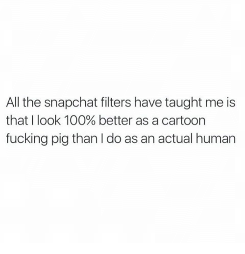 Anaconda, Dank, and Fucking: All the snapchat filters have taught me is  that I look 100% better as a cartoon  fucking pig than do as an actual human