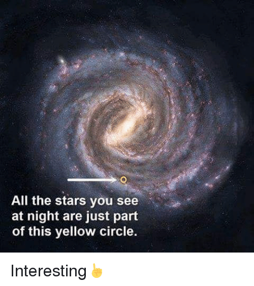 circling: All the stars you see  at night are just part  of this yellow circle. Interesting☝