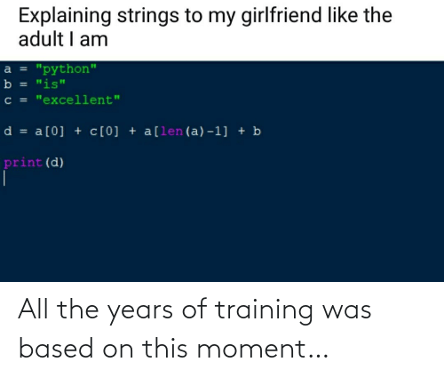 training: All the years of training was based on this moment…