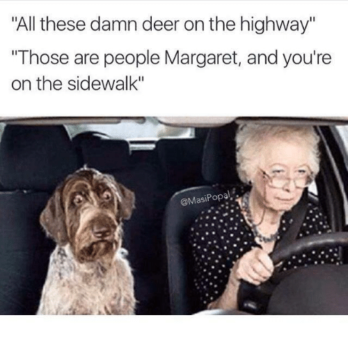 """Funny: """"All these damn deer on the highway""""  """"Those are people Margaret, and you're  on the sidewalk""""  @Masi Popal"""