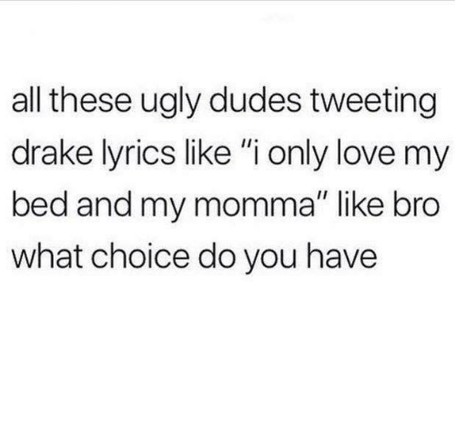 "Drake, Love, and Ugly: all these ugly dudes tweeting  drake lyrics like ""i only love my  bed and my momma"" like bro  what choice do you have"