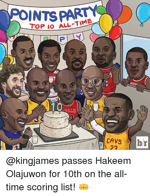 Cavs, Sports, and Time: ALL-TIME  TOP IO HOU  CAVS  br @kingjames passes Hakeem Olajuwon for 10th on the all-time scoring list! 👑
