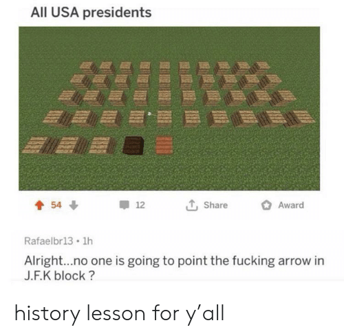 Presidents: All USA presidents  Award  54  12  Share  Rafaelbr13 1h  Alright...no one is going to point the fucking arrow in  J.F.K block? history lesson for y'all