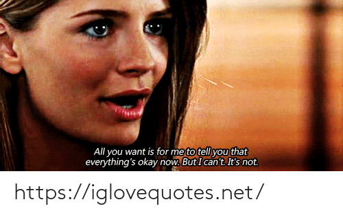 to-tell-you: All you want is for me to tell you that  everything's okay now. But I can't. It's not. https://iglovequotes.net/