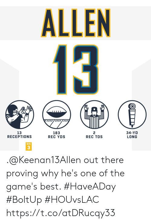 The Games: ALLEN  13  13  RECEPTIONS  183  REC YDS  2  REC TDS  34-YD  LONG  WK  3 .@Keenan13Allen out there proving why he's one of the game's best. #HaveADay #BoltUp #HOUvsLAC https://t.co/atDRucqy33