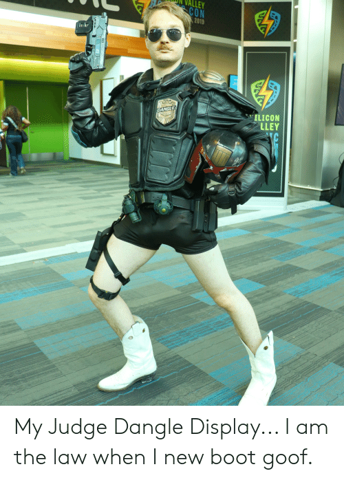 I Am The Law: ALLEY  CON  2019  SILICON  LLEY  DANGLE  IC  H My Judge Dangle Display... I am the law when I new boot goof.