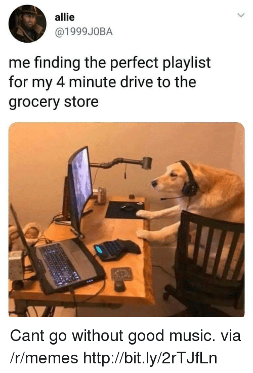 4 minute: allie  @1999J0BA  me finding the perfect playlist  for my 4 minute drive to the  grocery store Cant go without good music. via /r/memes http://bit.ly/2rTJfLn