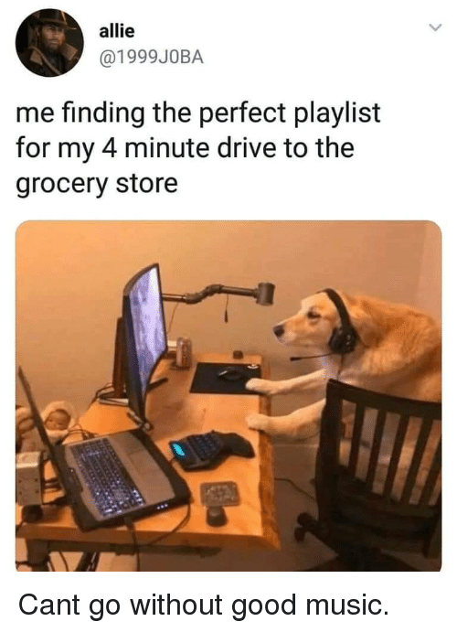 allie: allie  @1999J0BA  me finding the perfect playlist  for my 4 minute drive to the  grocery store Cant go without good music.