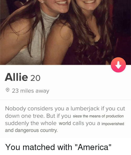 America, History, and Tree: Allie 20  23 miles away  Nobody considers you a lumberjack if you cut  down one tree. But if you sieze the means of production  suddenly the whole world calls you a impoverished  and dangerous country.