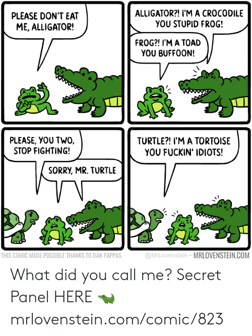 eat me: ALLIGATOR?! I'M A CROCODILE  YOU STUPID FRO0G!  PLEASE DON'T EAT  ME, ALLIGATOR!  FROG?! I'M A TOAD  YOU BUFFOON!  PLEASE, YOU TWO,  STOP FIGHTING!  TURTLE?! I'M A TORTOISE  YOU FUCKIN' IDIOTS!  SORRY, MR. TURTLE  @MrLovenstein MRLOVENSTEIN.COM  THIS COMIC MADE POSSIBLE THANKS TO DAN PAPPAS What did you call me?  Secret Panel HERE 🐊 mrlovenstein.com/comic/823
