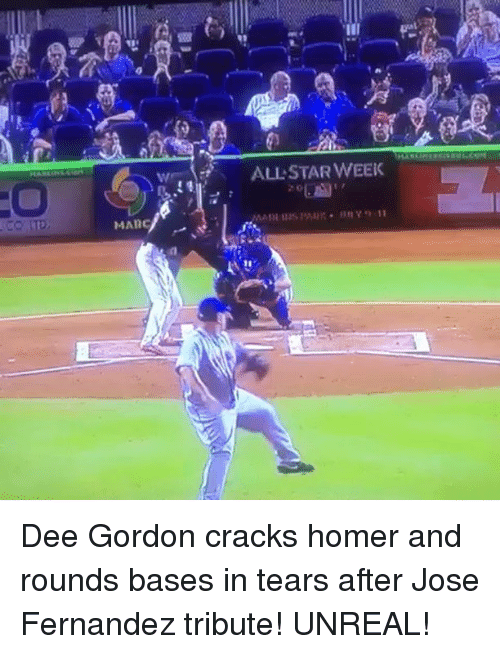 Dee Gordon: ALLSTAR WEEK Dee Gordon cracks homer and rounds bases in tears after Jose Fernandez tribute! UNREAL!