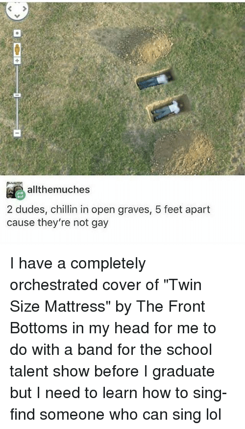 "Head, Lol, and Memes: allthemuches  2 dudes, chillin in open graves, 5 feet apart  cause they're not gay I have a completely orchestrated cover of ""Twin Size Mattress"" by The Front Bottoms in my head for me to do with a band for the school talent show before I graduate but I need to learn how to sing-find someone who can sing lol"