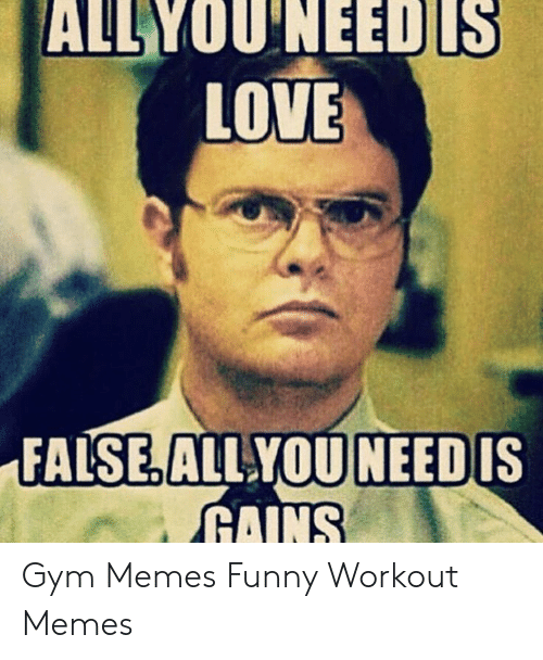 Funny Workout Memes: ALLYOU'NEEDLS  LOVE  NEED  FALSE. ALL YOU  RAINS  IS Gym Memes Funny Workout Memes