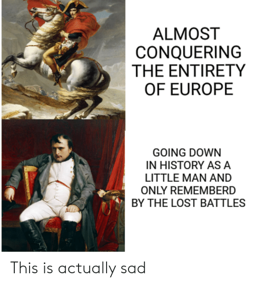 asa: ALMOST  CONQUERING  THE ENTIRETY  OF EUROPE  GOING DOWN  IN HISTORY ASA  LITTLE MAN AND  ONLY REMEMBERD  BY THE LOST BATTLES This is actually sad