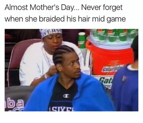 Mother's Day, Game, and Hair: Almost Mother's Day.. Never forget  when she braided his hair mid game  ER