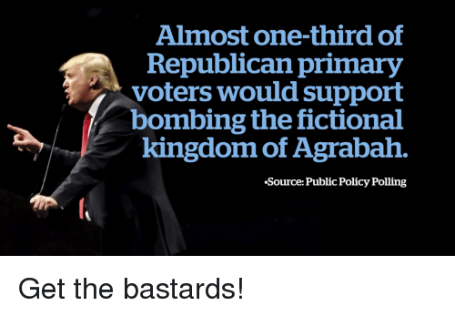 Agrabah, Politics, and Fictional: Almost one-third of  Republican primary  voters would support  bombing the fictional  kingdom of Agrabah.  Source: Public Policy Polling Get the bastards!